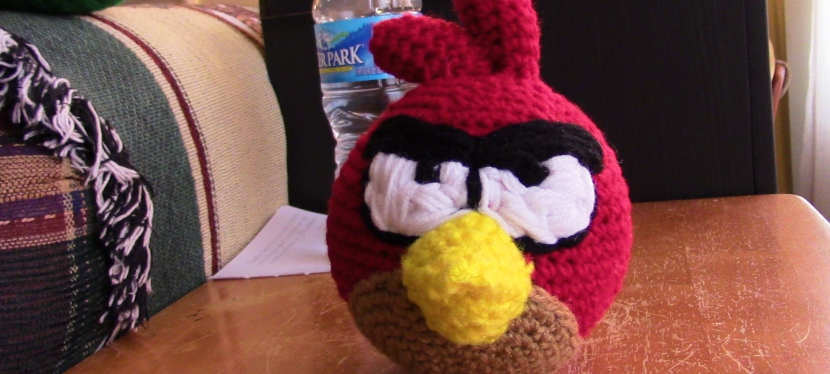 Crocheted Red bird from Angry Birds