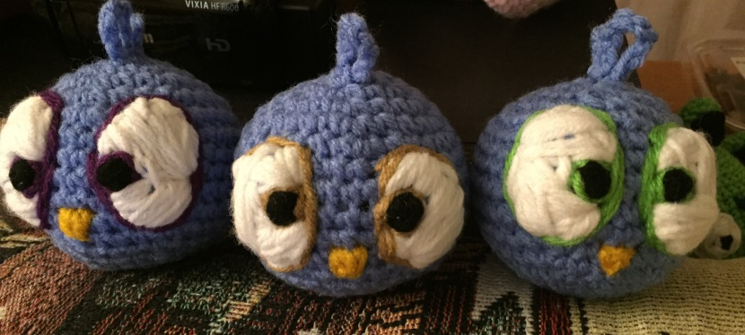 Crocheted Blue Birds from AngryBirds